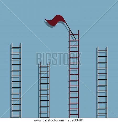 red ladder with red flag on top among other ladder success creative idea concept. vector illustration poster