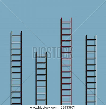 red ladder different from other ladder success creative idea concept. vector illustration poster