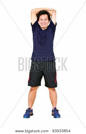 Asian Man Stretching Workout.