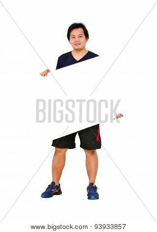 Asian Sportman With Blank Message Board.