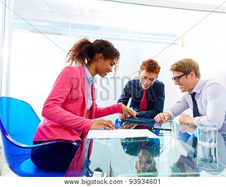 Multi ethnic teamwork of young business people meeting working at office