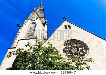 The peace church (Friedenskirche) on the banks of River Main, close to castle - symbol of the city o