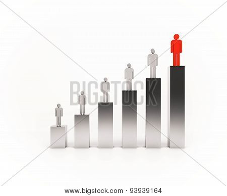3d rendered, people standing on bar graph. people below  looking to the above people