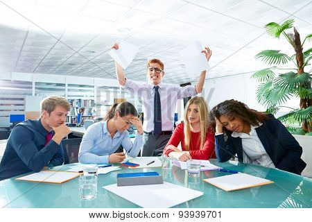 business meeting sad expression bad negative gesture young teamwork poster