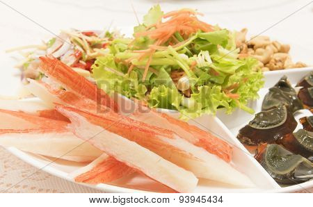 Imitation Crab Stick Served on a plate. poster