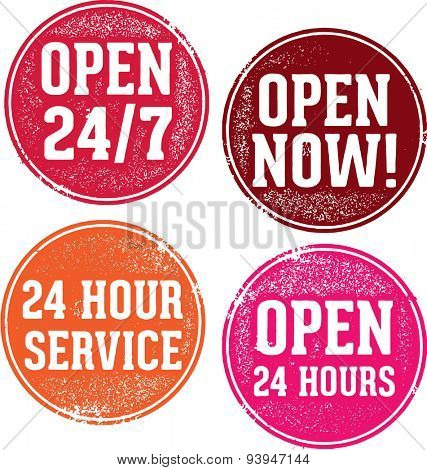 Open 24 Hours Service Stamps