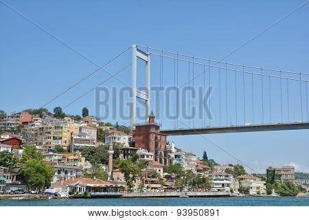 Fatih Sultan Mehmet Bridge and the coastline of Rumeli Hisari,Istanbul, Turkey