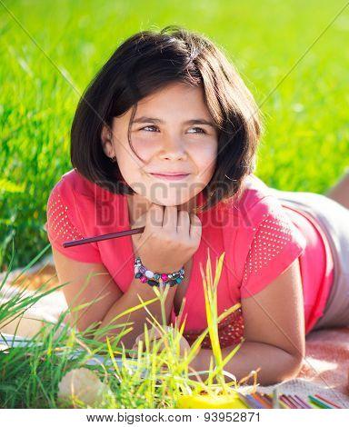 Happy Child Studying On Nature