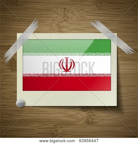 Flags Iran At Frame On Wooden Texture. Vector