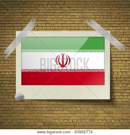 Flags Iran At Frame On A Brick Background. Vector