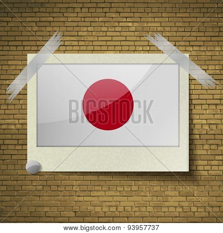 Flags Japan At Frame On A Brick Background. Vector
