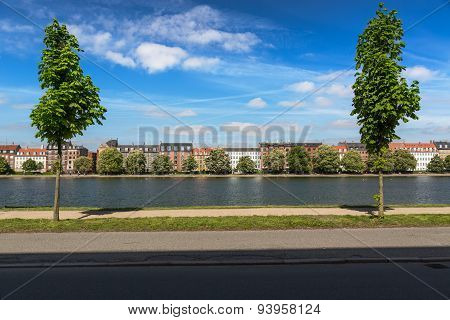 Canal in Copenhagen at a sunny day, Denmark poster