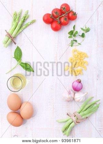 Italian Food Background, With Vine Tomatoes, Asparagus, Basil, Spaghetti, Olive Oil, Garlic, Eegs, R