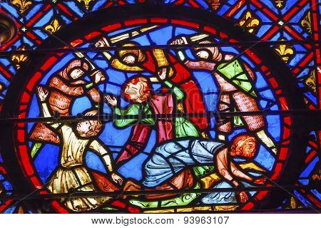 Knights Beheading Stained Glass Sainte Chapelle Paris France