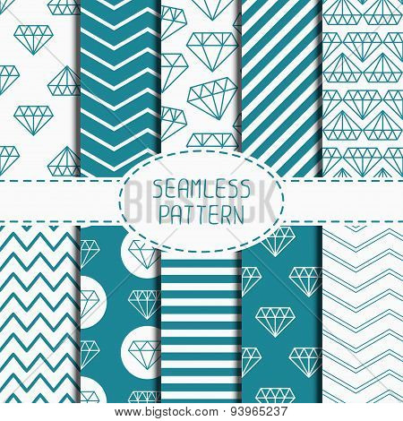 Set of blue hipster fashion geometric seamless pattern with diamond. Chevron zigzag stripes. Wrappin