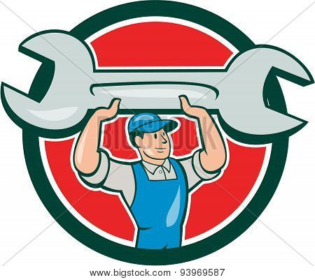 Illustration of a mechanic wearing hat and overalls looking to the side lifting giant spanner wrench viewed from front set inside circle on isolated background done in cartoon style. poster
