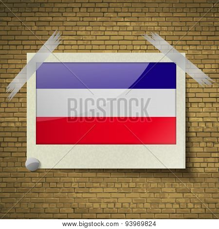 Flags Los Altos At Frame On A Brick Background. Vector