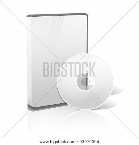 White realistic isolated DVD, CD, Blue-Ray case with DVD, CD disk on white background with reflection. With place for your text and pictures. Vector illustration poster