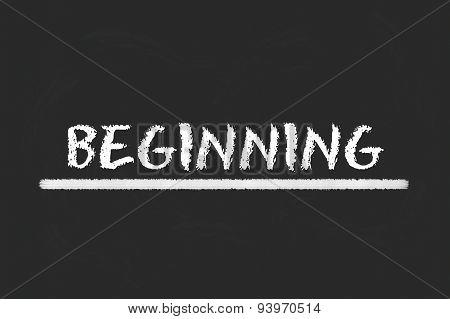 Beginning White Script On A Black Blackboard