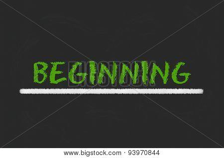Beginning Green Script On A Black Blackboard