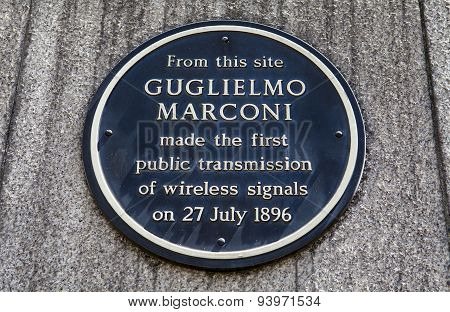 Guglielmo Marconi Plaque In London