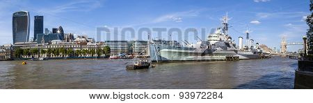 The City, Hms Belfast And Tower Bridge Panorama