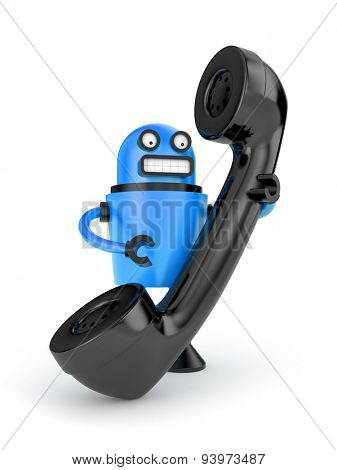 Robot with phone tube. Electronics and technologies metaphor