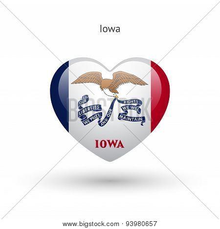 Love Iowa state symbol. Heart flag icon.