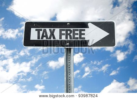 Tax Free direction sign with sky background