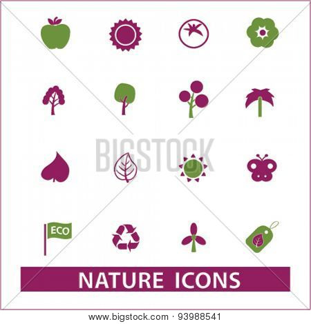 nature isolated icons, illustrations, vector