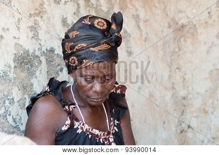 African woman in the village