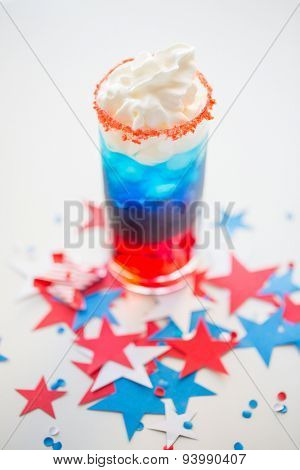 american independence day, celebration, patriotism and holidays concept - glass of cocklatil drink with whipped cream and stars confetti decoration on american independence day party