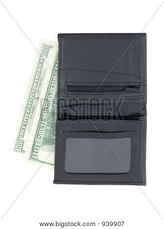 a wallet with 2 hundred dollar bills poster
