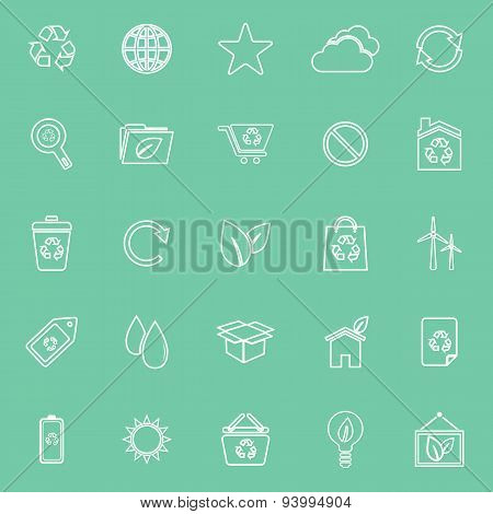 Ecology Line Icons On Green Background
