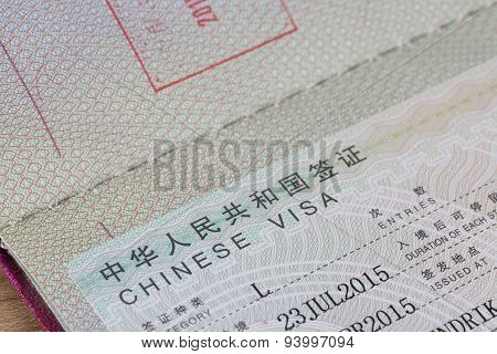 Detail Of Chinese Visa