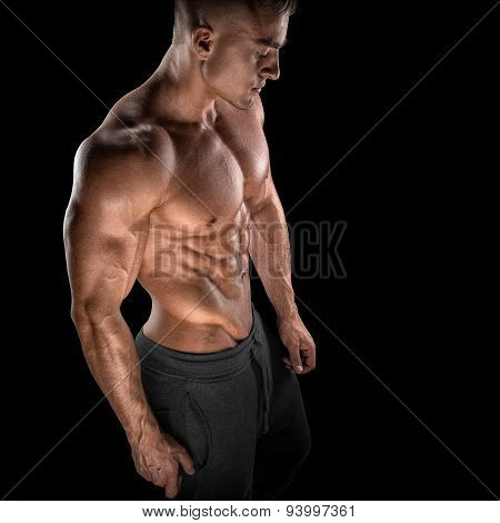 Fit Young Bodybuilder Fitness Male Model Posing
