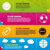 Flyer brochure designs. Sport balls icons. Volleyball, Basketball, Soccer and American football signs. Team sport games. Frame design templates. Vector poster