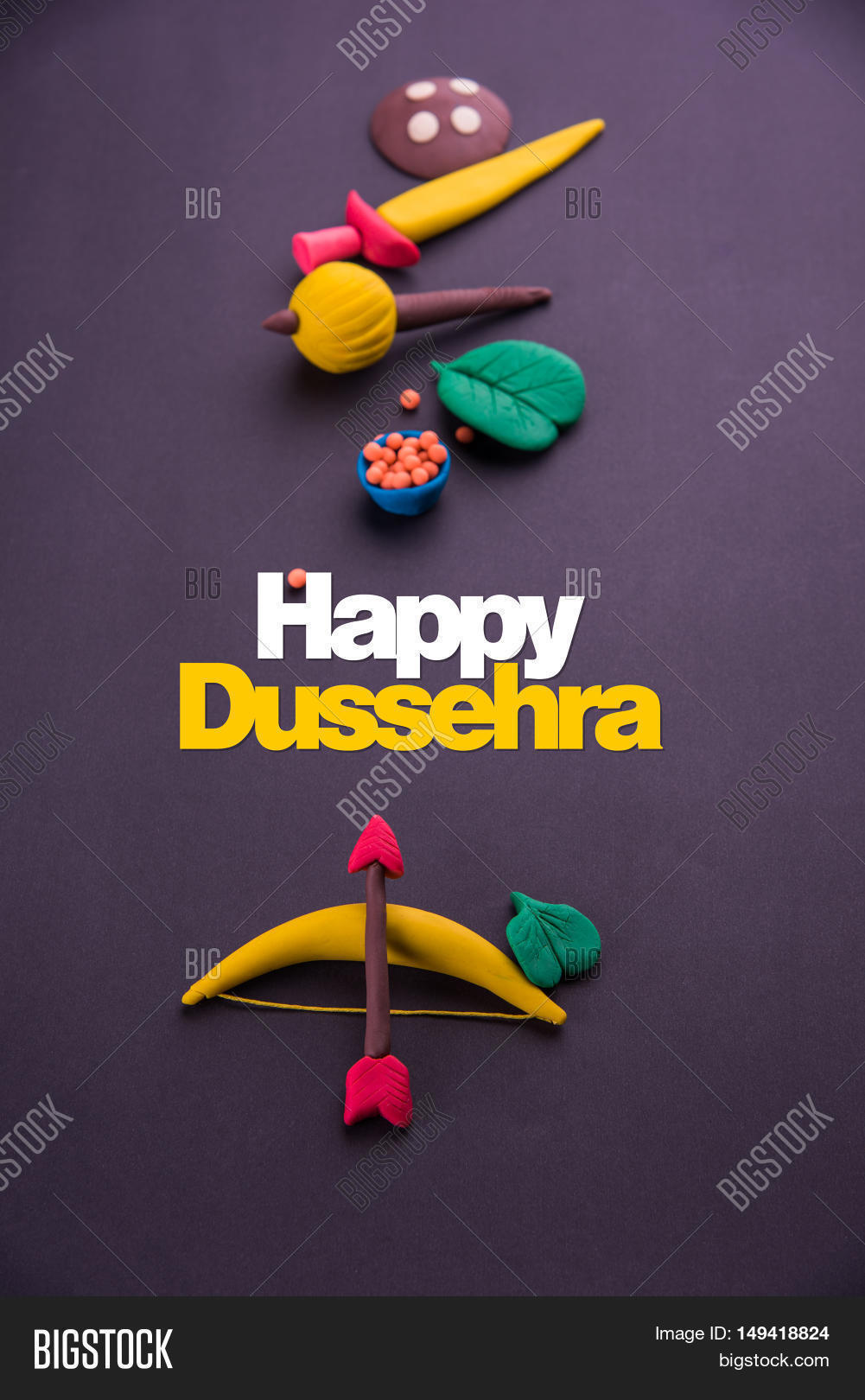 Happy dussehra image photo free trial bigstock happy dussehra greeting card made using a photograph of colourful clay models of ancient indian armour m4hsunfo