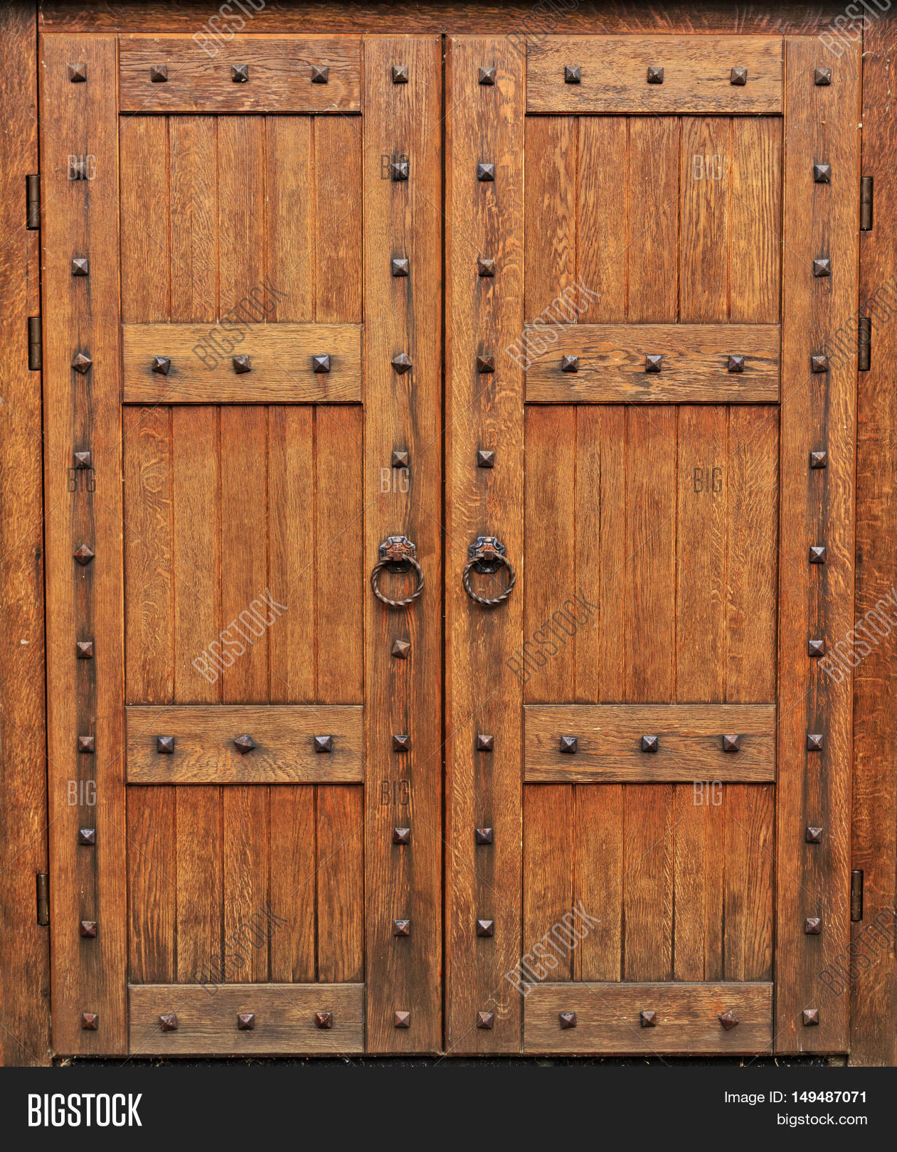 medieval oak door Gothic style the castle doors heavy equipment defense & Medieval Oak Door Gothic Style Image \u0026 Photo | Bigstock
