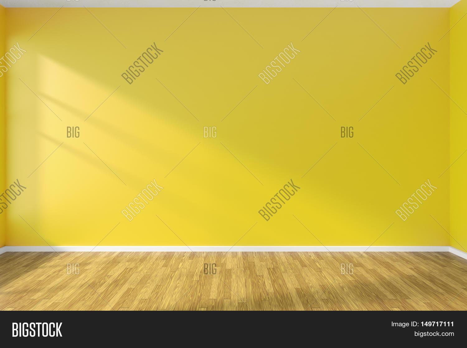 Yellow Wall Of Empty Room With Hardwood Parquet Floor And Sunlight From Window On The