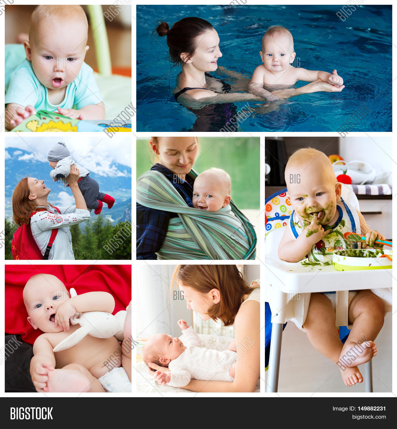 collage of photos mother and baby daily routine maternity and activity with baby