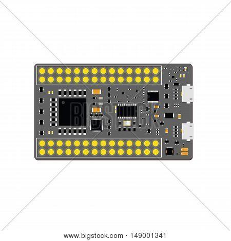 Diy Electronic Grey Micro Board With A Microcontroller