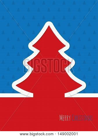 Christmas greeting card design with white ribbon tree and christmastree pattern background