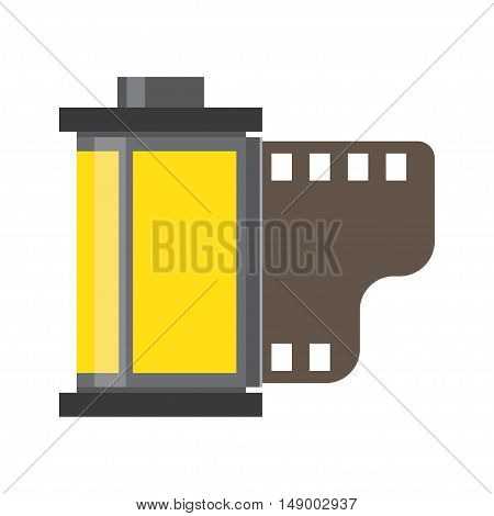 Camera film roll negative and films photo film in cartridge. vector illustration.