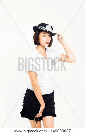 Brunette Girl In Police Costume