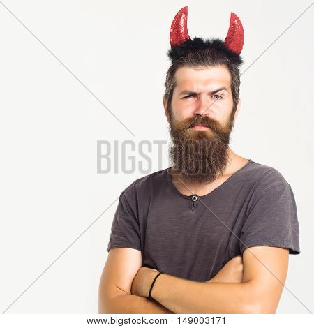 Young Man With Red Horns