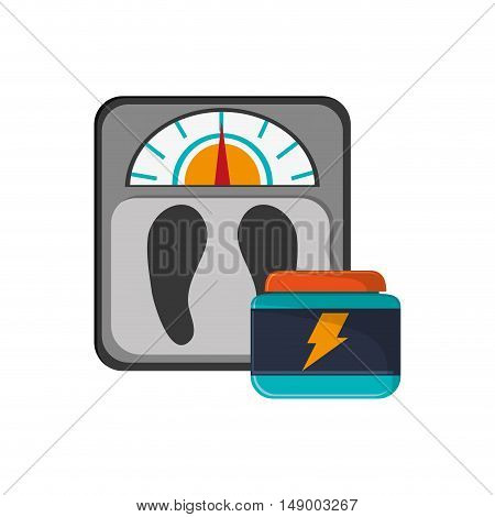 flat design weight scale and protein supplement  icon vector illustration