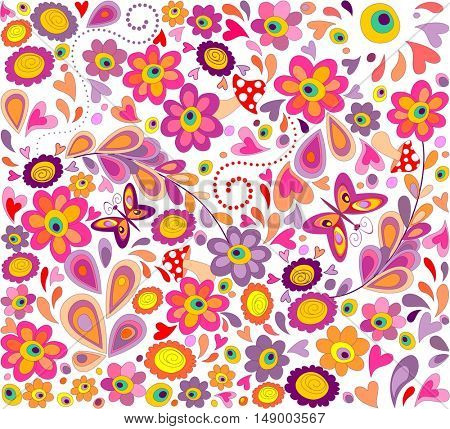 Hippie wallpaper with funny butterflies, colorful flowers and mushrooms