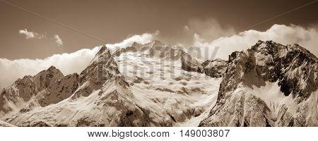 Panorama Caucasus Mountains. Dombay. Peak Ine .