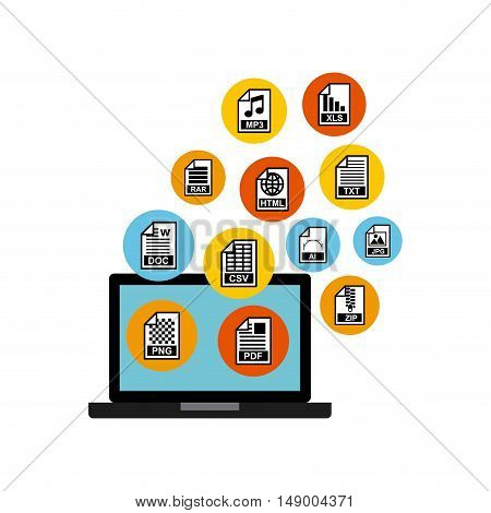 document format with electronic device vector illustration design